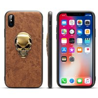 Wholesale Skull Phone Iphone Cases - For Apple iPhone X 8 7 6S 6 Plus Slim Case Premium PU Leather TPU Bumper PC Hybird Protection Shock Proof Phone Cover With Skull Sticker