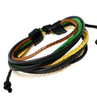 vêtements de corde pour femme achat en gros de-Cuir Coton Corde Réglable Hommes Femmes Pas Cher Coloré Multicouche Bracelet Fait À La Main Vêtements Accessoires Bracelets Bijoux