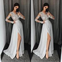 chiffon- partei-abschlussballkleid-abendkleid großhandel-2018 Sliver Prom Dresses V-Ausschnitt mit langen Ärmeln Spitze Appliques Sexy Side Split Abendkleider Arabisch Günstige Prom Party Dress