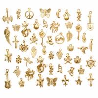 tibet altın kolye toptan satış-50 Adet / takım Lots Tibet Gümüş / Altın Karışık Stilleri Charm Kolye DIY Takı için Kolye Bilezik El Sanatları Bulgular # 240209