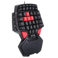 jugador de teclas al por mayor-2018 Delux T9U One Hand Wired Keyboard 41 teclas estándar Teclado de una mano con retroiluminación LED para LOL DOTA 2 Game Player PC