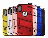 Wholesale iphone defender series for sale – best Phantom Series in1 Hybrid Case For Iphone XS MAX XR Plus s SE S Galaxy Note S9 Defender Grid Net Holder Hard PC TPU Cover