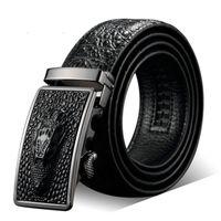 ingrosso cintura di alligatore nero-Cintura larga da uomo nuova Cintura nera Alligatore Ceinture homme Marchi di lusso Pelletteria da uomo Fibbia automatica in oro all'ingrosso