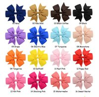 Wholesale flower hair clips for girls - 40 Colors Hair Bows Hair Pin for Kids Girls Children Hair Accessories Baby Hairbows Girl Barrettes with Clips Flower Hairs Clip