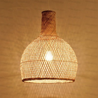Wholesale asian countries resale online - Round Craft Bamboo Wicker Rattan Cage Shade Pendant Light Fixture Asian Country Vintage Japanese Suspended Lamp Tea Room LLFA