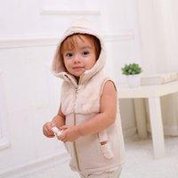 chalecos de algodón de algodón orgánico al por mayor-Infantil Unisex Baby Girl Boy Invierno algodón orgánico de piel sintética chaleco con capucha prendas de vestir exteriores niño pequeño bebé chaqueta sin mangas Chaleco