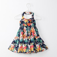 Wholesale Summer Dresses For Kids Sale - 2018 Summer Baby Girls Dresses Floral Printed Sundress for Girls Beach Holiday Children Dress Kids Clothes Hot Sales