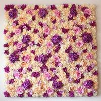 ingrosso fiori di piombo stradali-40X60 cm Seta artificiale Hydrangea Rose Flower Wall Hotel Casa matrimonio Fondale Prato / pilastro Fiore Strada Piombo Forniture da parete