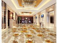 ingrosso carta da parati dorata di lusso-Pavimento Pittura 3D Carta da parati Luxury gold rose marble modello 3D pavimento in PVC Adesivo per pavimento in PVC pittura murales