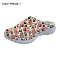 ingrosso stampare le donne piatta scarpe-vendita all'ingrosso carino panda rosso stampato sippers donne del fumetto appartamenti a rete scarpe traspiranti appartamenti casa scarpe fuori sandali pantofole