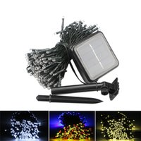 árboles de luces led al aire libre al por mayor-Lámparas solares LED String Lights 100/200 LEDS Fiesta al aire libre Christmas Tree Decor Garlands Jardín Solar Lawn Garden Lights Waterproof