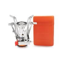 ferramentas mini bolso dobrar venda por atacado-Mini Fogão Queimador de Churrasco Para O Acampamento Ao Ar Livre Caminhadas Bolso De Piquenique Ferramenta de Cozinha Mini Folding Fogões Super Leve Com Caixa Pequena 19 5hy ZZ