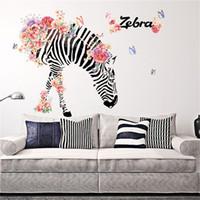 vinilos para sala familiar al por mayor-DIY Familia Hogar Etiqueta de La Pared Zebra Patrón Extraíble Tatuajes Murales Arte de Vinilo Habitación arte cebra de la flor TV backgroundDecor 90 * 60 cm