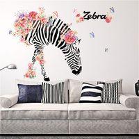 zebra wand kunst großhandel-DIY-Familie Home Wandaufkleber Zebra-Muster Removable Decals Vinyl Kunst Zimmer Kunst Blume Zebra TV backgroundDecor 90 * 60cm