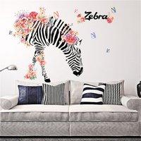 ingrosso adesivi zebra per pareti-FAI DA TE Casa di Famiglia Wall Sticker Zebra Pattern Rimovibile Murale Decalcomanie In Vinile Art Room Art fiore zebra TV backgroundDecor 90 * 60 cm