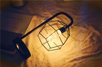 navidad lámpara batería cálido blanco al por mayor-Luces de la noche regalo de navidad moda Birdcage Night Stand lámpara con pilas lámpara de mesa blanco cálido interior decoración del hogar