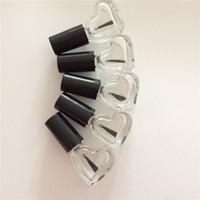 Wholesale empty nail polish bottle 5ml - 5ML CC Heart-shaped Empty Glass Nail Polished Bottles With Black Brush Mini Glass Bottle fast shipping F765