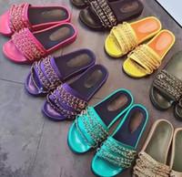 sapatos de borracha cáqui venda por atacado-Sapatos reais! 23 Cor tamanho grande 40 41 42 genuína corrediça cadeia de couro sandálias planas mulheres designer de moda praia ao ar livre de borracha causal