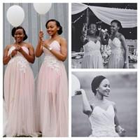 bridesmaid dress front slit toptan satış-Bir Omuz Elbise Saten Kanat Gelinlik Modelleri Kanat Ön Yarık ile Düğün Parti Elbise Örgün Önlükler