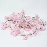 ingrosso decorazione di falsi vitigni-JAROWN Simulazione Cherry Blossom Rattan Peach Flower Vines Silk Fake Flower Wedding Decoration Flower Home Decorazioni per feste