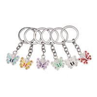 Wholesale butterfly keychains - Colorful Butterfly Design Key Ring Creative Metal Fashion Keys Charm Rhinestone Decoration Shiny Keychains Hot Sale 2 5xm Z