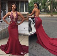 Wholesale spandex beaded evening gowns - 2018 Sexy V Neck Burgundy African Mermaid Prom Dresses Sleeveless Rhinestones Backless Chapel Evening Dresses Party Gowns Vestidos De Festa