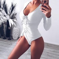 8dfe460da1c Womens Sexy Club Bodycon Bodysuits For Girls White Deep V-neck High Waist  Full Sleeve Lace Up Triangle Jumpsuits Teddies