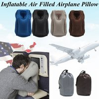 Wholesale travel blue inflatable neck pillow resale online - 5 Colors Inflatable Air Pillow Column Travel Pillow Airplane Neck Head Chin Cushion Office Nap Rest AAA404