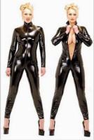 ingrosso vestiti caldi del lattice-Hot Sexy Catwomen Nero Tuta PVC Spandex Latex Catsuit Costumi per le donne Body Abiti Fetish Leather Dress Plus Size XS-5XL