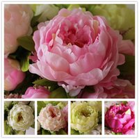 Wholesale silver flower head accessories resale online - 7 Heads Bunch New Silk Simulation Artificial Flower Peony Flower Bouquet For Wedding Table Accessory Home Decoration