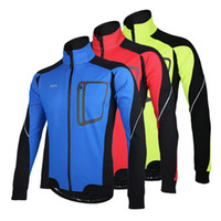 Wholesale running windproof jacket - Long Sleeve Winter Warm Thermal Running Jacket ARSUXEO Windproof Breathable Sport Jacket Bicycle Clothing Cycling MTB Jersey