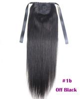 cabello humano recta cola de caballo al por mayor-Extensiones de cola de caballo Kinky Straight para mujeres 100g Color # 1B Negro natural 100% cabello humano Remy Extensiones de cola de caballo 60g 16