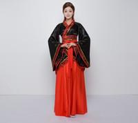 alte chinesische kostüme frauen großhandel-2018 Sommer Hanfu Nationaltracht Ancient Chinese Cosplay Kostüm Ancient Chinese Hanfu Frauen Kleidung Lady Stage Dress