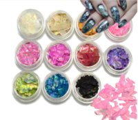 Wholesale nail art pearl stickers resale online - 12Box Natural Pearl Nail sticker Decorations SeaShell Slices Particle Crushed Shell d Charm Manicure Nail Art Glitter Decoration shell