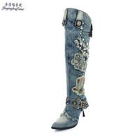 mavi diz yüksek bot kadın toptan satış-Kış Yeni Mavi Denim Kanye Batı Çizmeler kovboy Kadınlar Yüksek Topuklu Ayakkabılar Seksi Fermuar Diz Yüksek Çizmeler