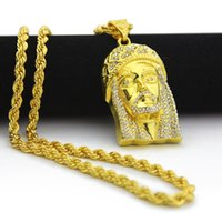 Wholesale yellow gold jesus pendant - Trendy Holiday Accessories Real Yellow Clear CZ Christian Jesus Head Pendant Necklace Men Hip Hop Jewelry#HOP