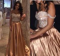 ingrosso bling abito da sposa in oro-Oro africano Due pezzi Perline Crystal Bling Prom Dresses Off spalla raso lungo Plus Size Pageant Party Dress Abiti da sera formale