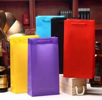 bolsas de botellas negras al por mayor-Color sólido Tela de plástico Bolsas de embalaje de vino 12pcs 33x17x8cm Regalo Botella de vino Regalo de Navidad Portador Negro Bungundy Verde Púrpura
