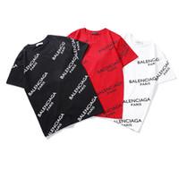 camisa cheia de estilo venda por atacado-Marca de moda Blen Ciaga Pares Logotipo Completo Carta Impresso Homens Tshirt de Manga Curta Mulheres Hip-Hop Rua Estilo Esportes Ao Ar Livre Tops T-shirt T-shirt