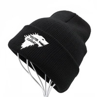 Wholesale women game thrones online - Balaclava Winter Warm Knitted Beanie Hats Brand Game of Thrones Skullies Teenager Embroidered Dire Wolf Hats for Men and Women