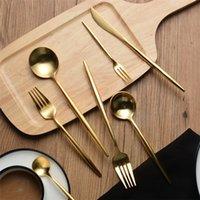 altın metal yıldızlar toptan satış-Cupitol Altın Paslanmaz Çelik Kaşık Çatal Bıçak Altın Kaplama Sofra Paslanmaz Çelik 304 Düğün Yıldız Otel Kullanımı