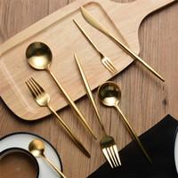 vajilla usada al por mayor-Cupitol Gold Cuchara de acero inoxidable Tenedor Cuchillo Vajilla chapado en oro Acero inoxidable 304 Estrella de bodas Uso en el hotel