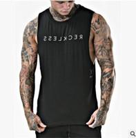 kas altın toptan satış-2019 Marka giyim Gevşek Tank Top Erkek Stringer Altınları Vücut Geliştirme Kas Mektup Baskılı Gömlek Egzersiz Yelek spor salonları Fanila