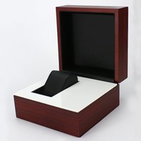 Wholesale Business Display Cases - Luxury Durable Dark Red Wooden Watch Display Box Watches Case Business Gift Box Jewelry Storage Holder Organizer Free Shipping
