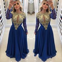 güzel uzun kollu gece elbiseleri toptan satış-Güzel Kraliyet Mavi Uzun Kollu Gelinlik Modelleri Şifon Dantel Boncuklu Orta Doğu Aplikler Boncuklu Örgün Balo Abiye Robe De Bal Abiye