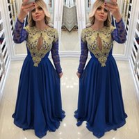 lindo vestido de noite azul frisado venda por atacado-Linda Azul Royal Manga Longa Vestidos de Baile Chiffon Lace Frisada Oriente Médio Apliques Frisado Formais Vestidos de Baile Robe De Bal Vestidos de Noite