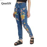 цветочные зимние брюки оптовых-QoerliN 96%Cotton Embroidery Floral Jeans Women Autumn Winter Mid-Waist Fashion Full Length Pocket Denim Pants Female Plus Size