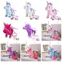 tek boynuzlu dolmalık oyuncaklar toptan satış-Elektrikli Unicorn Bebek Peluş Oyuncaklar Yürüyüş Dolması Hayvan at Oyuncak Elektronik Müzik Şarkı Oyuncak Chinldren Noel Dolması hediye GGA1262