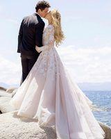 Wholesale Hayley Paige - 2018 Vintage Blush Pink Rococo Beach Wedding Dresses Long Sleeve Lace Appliqued Bridal Gowns Hayley Paige Vesito De Noiva