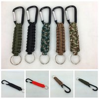 Wholesale outdoor survival kits online - Woven Paracord Lanyard Keychain Outdoor Survival Paracord Parachute Cord Lanyard Keyring Carabiner Hook Kits Outdoor Gadgets OOA4983